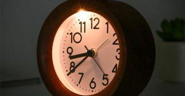 Log wooden night light alarm clock