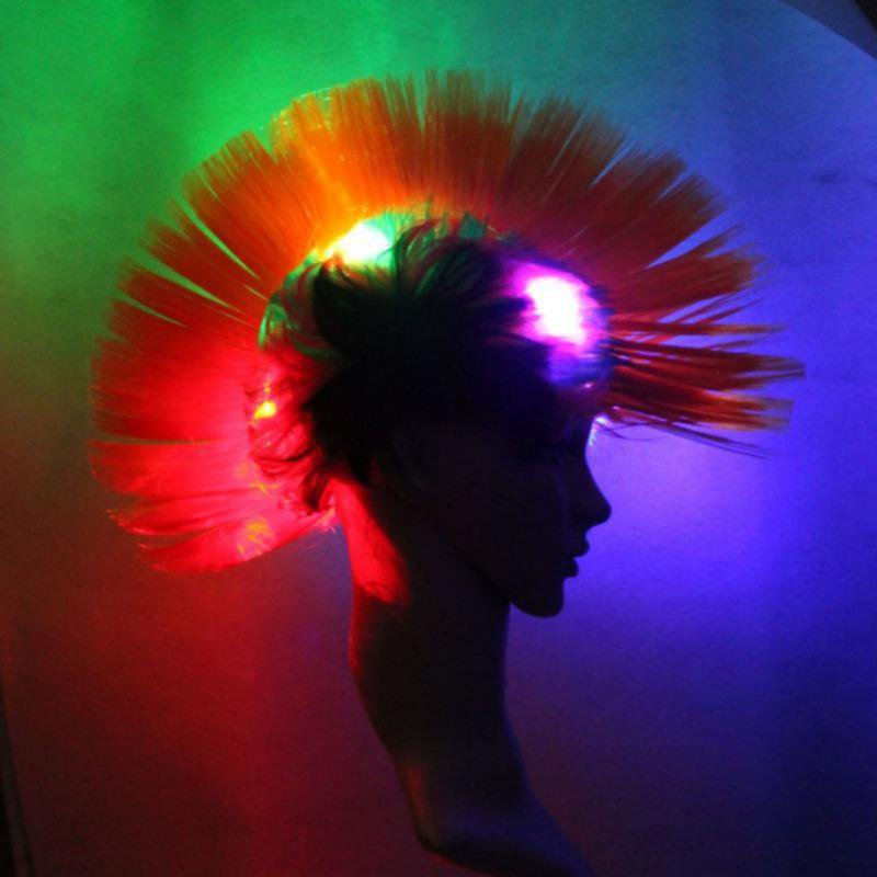 Rainbow Mohawk LED Wig