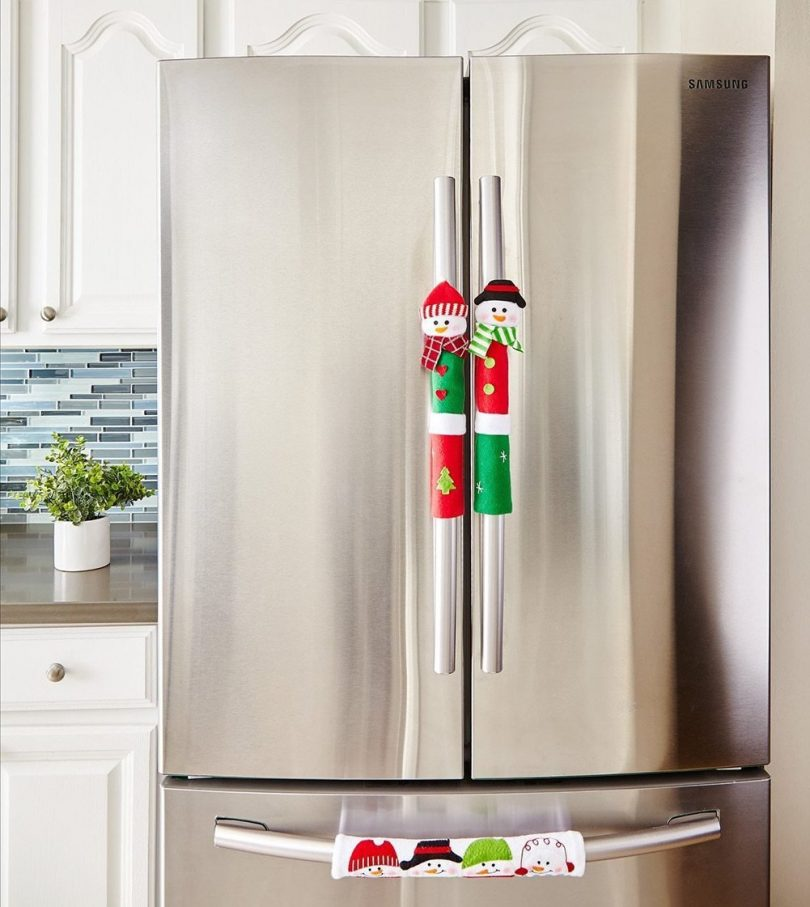 Refrigerator Handle Snowman Covers