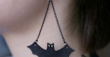 Black Leather Bat Hook Earring