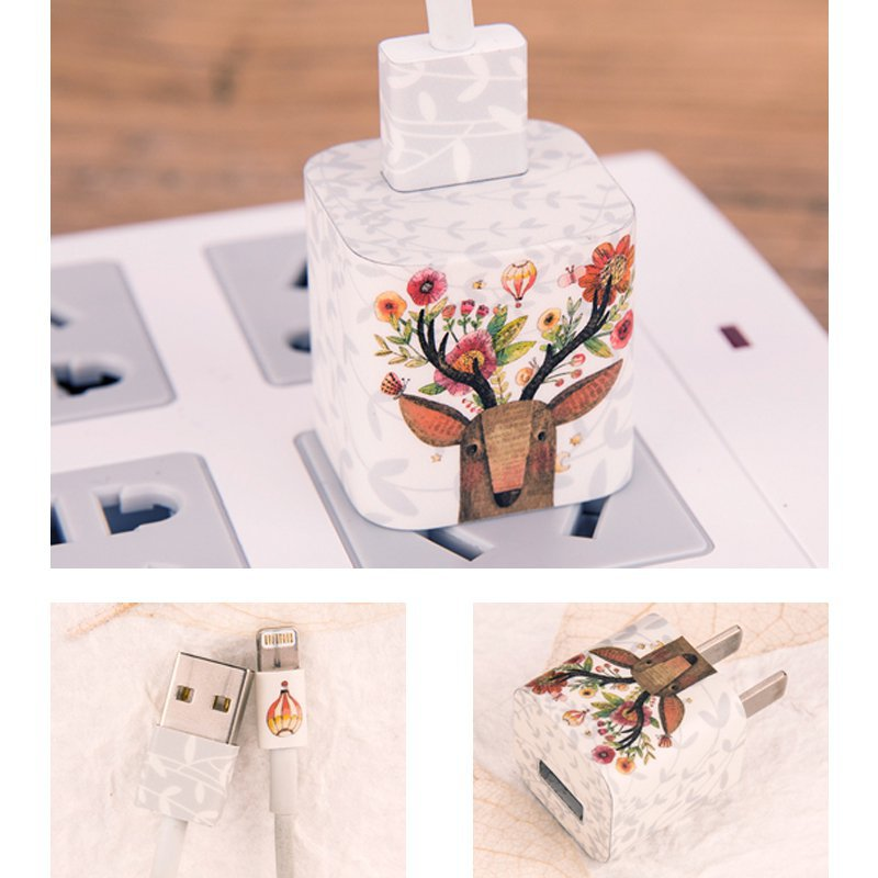 Flower Sika Deer iPhone Charger Stickers