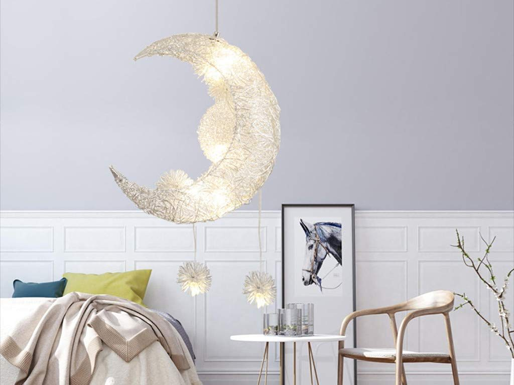Modern Ceiling Lighting Pendant Lamp Star and Moon Kids Room Decor