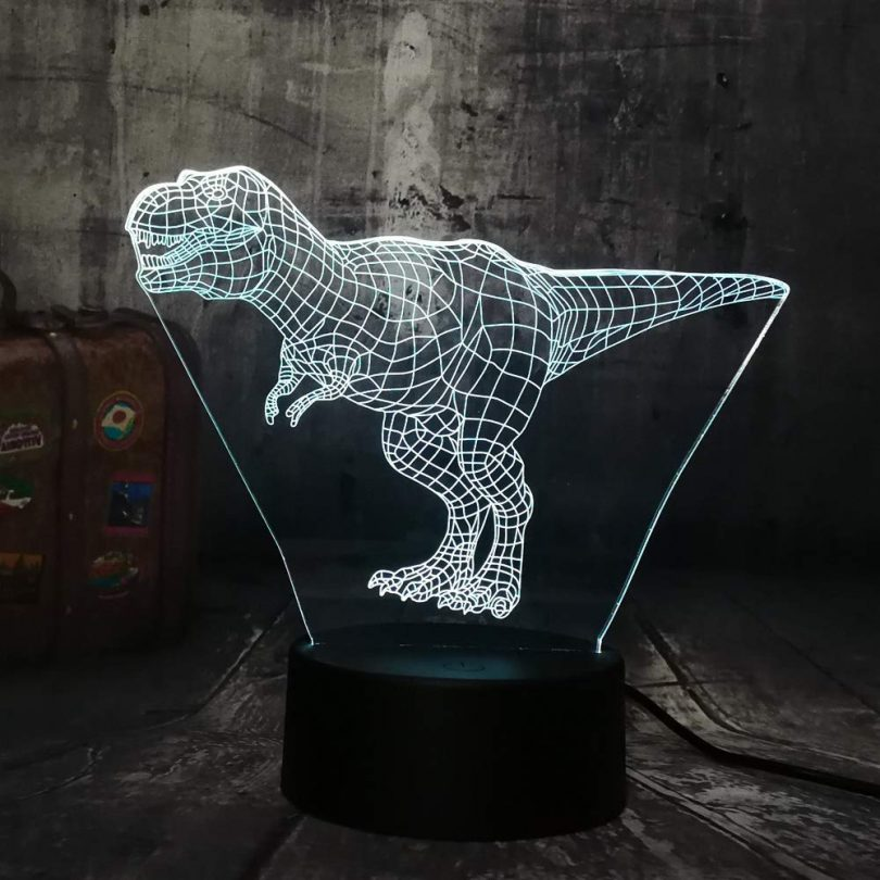 Kabeto New Cool Tyrannosaurus Rex Jurassic World Dinosaur Animal 3D LED Desk Lamp