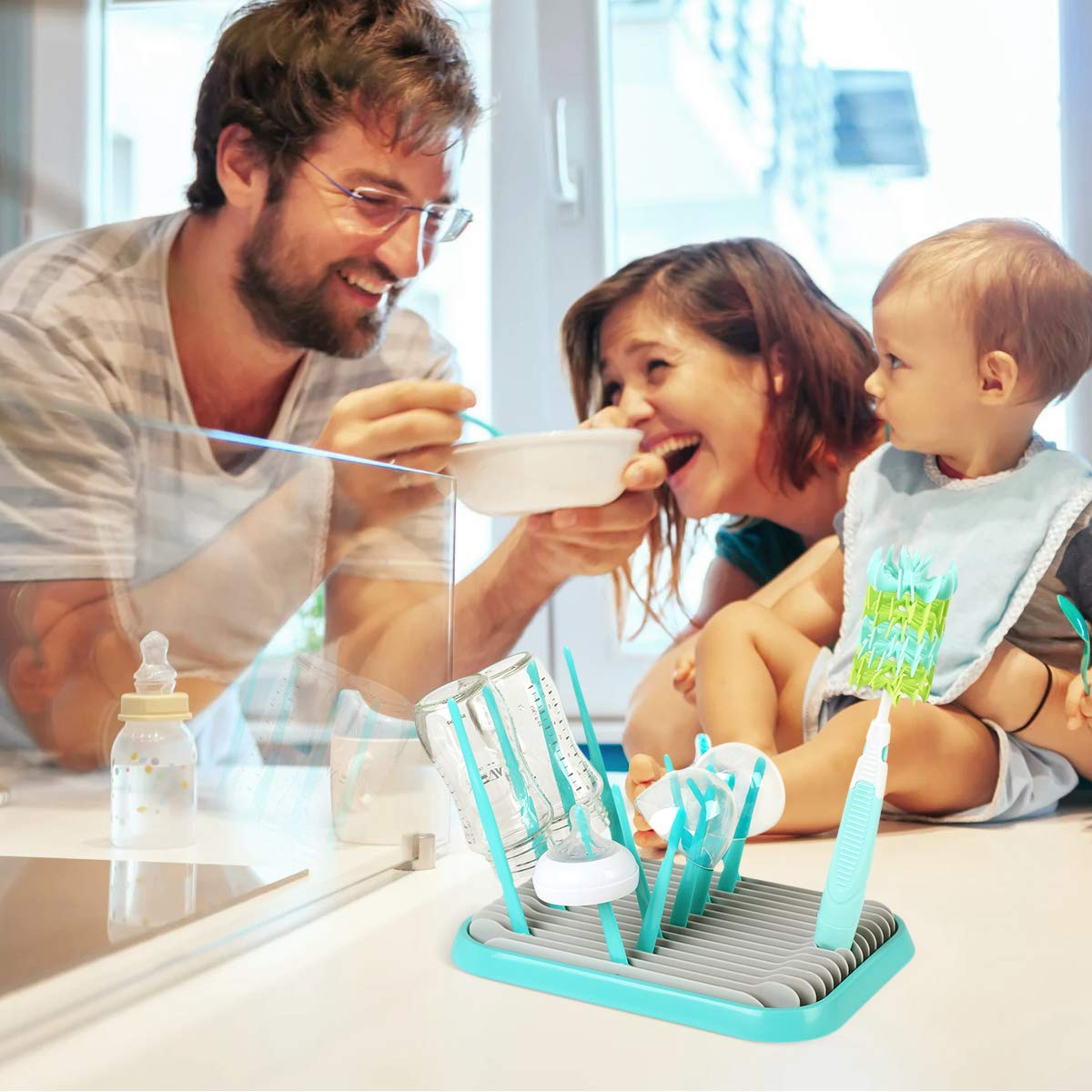 Syntus Baby Bottle Drying Rack Silicone Bottle Cleaning Brush