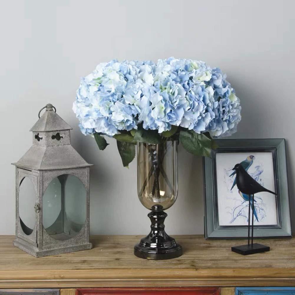 Jasion Artificial Flowers Hydrangeas Flowers 5 Big Heads Silk Bouquet