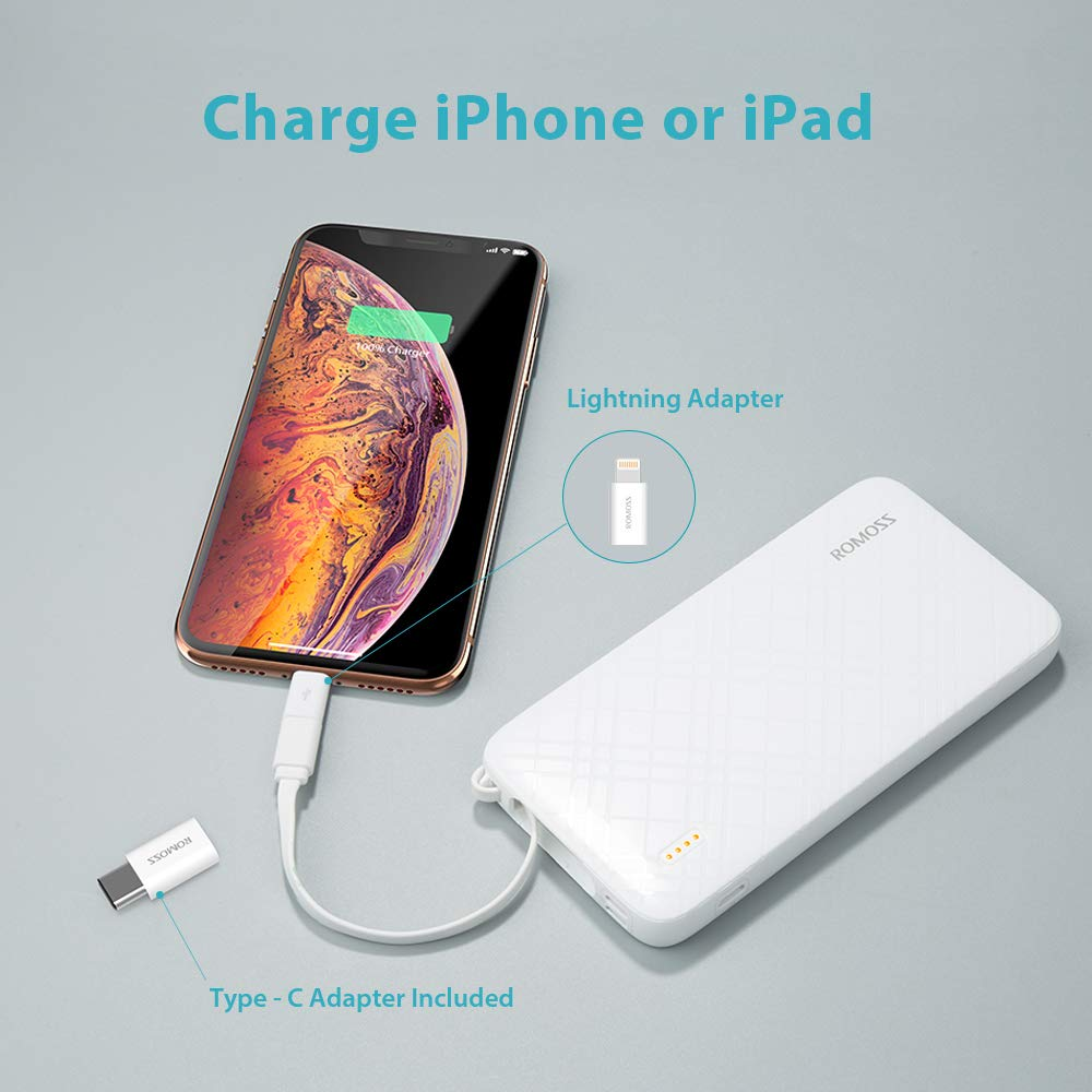 ROMOSS 10000mAh Portable Charger with Built-in Cable