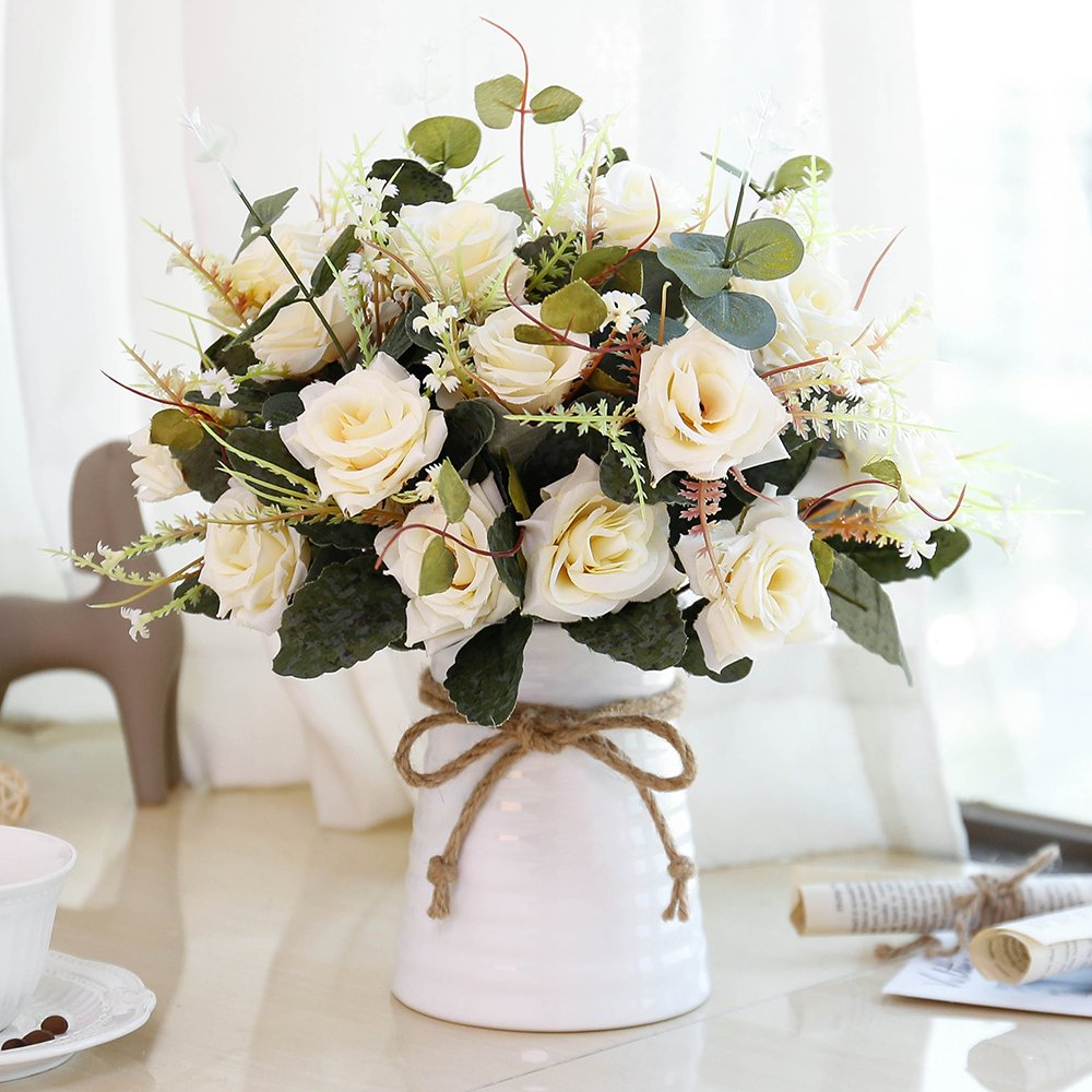 YILIYAJIA Artificial Rose Bouquets with Ceramics Vase