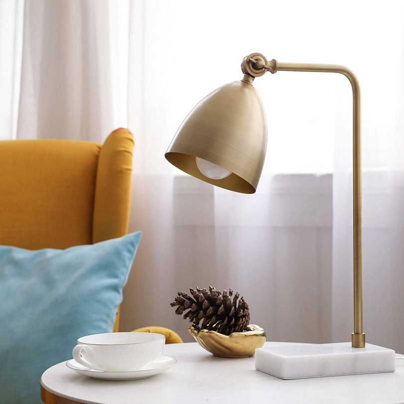 CO-Z Gold Desk Lamps with Marble Base & Adjustable Metal Shade with E12 Bulb