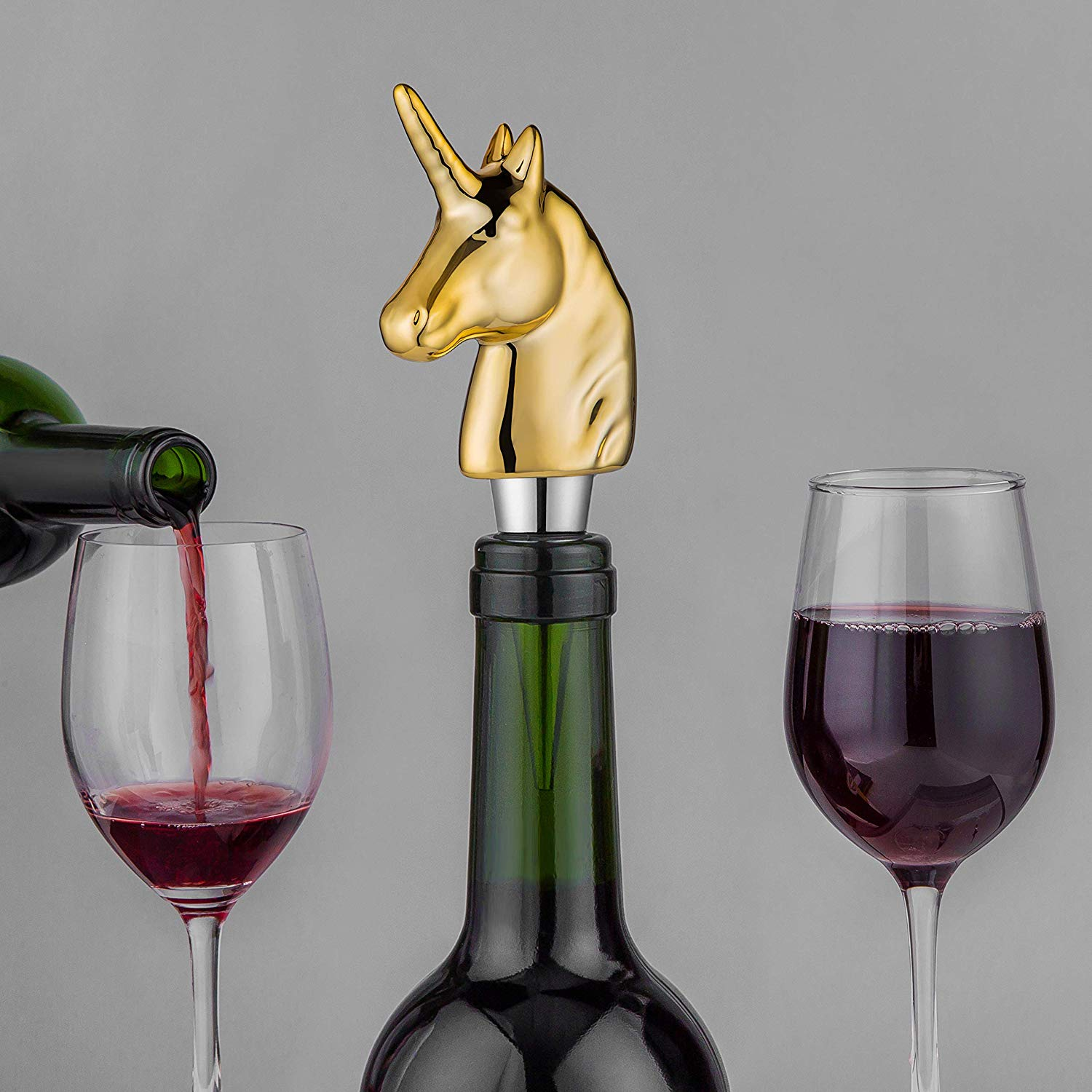 Smokeyojos Porcelain Gold Plating Unicorn Wine Bottle Stoppers Decorative Funny Wine Accessories Gift