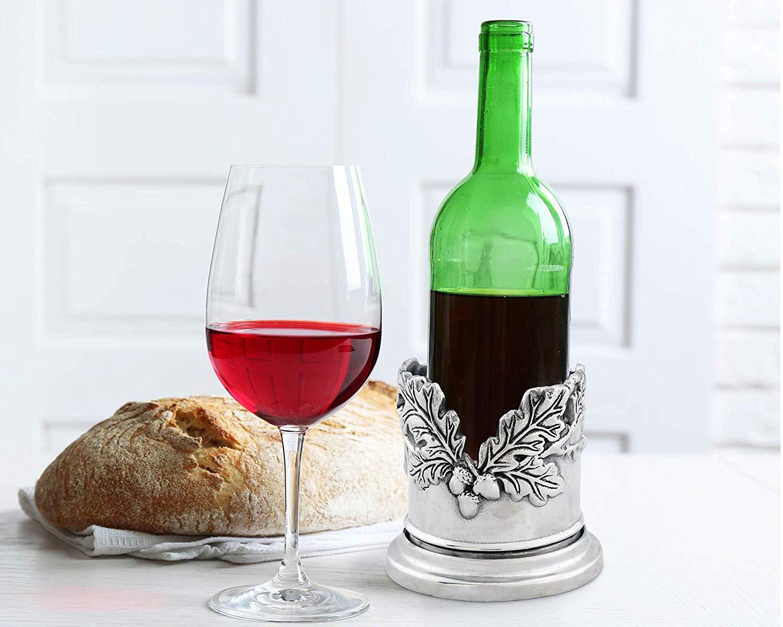 Arthur Court Sand Cast Aluminum Forest Oak Leaf Wine Bottle Coaster 5″ Diameter
