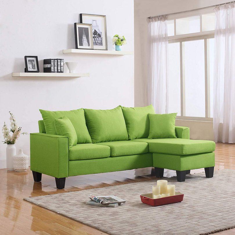 DIVANO ROMA FURNITURE Modern Linen Fabric Small Space Sectional Sofa