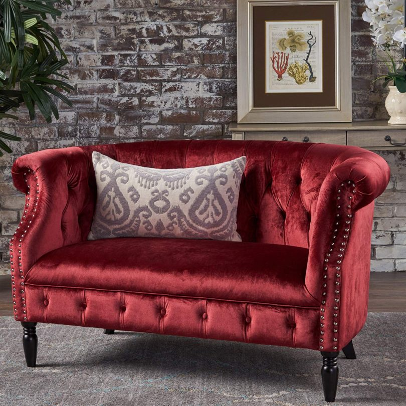 Tufted Rolled Arm Velvet Chesterfield Loveseat Couch