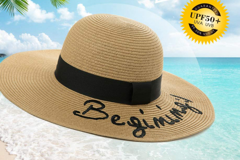 Jeff & Aimy Floppy Straw Beach Sun Hat for Women Embroidered Wide Brim Summer Hat Packable