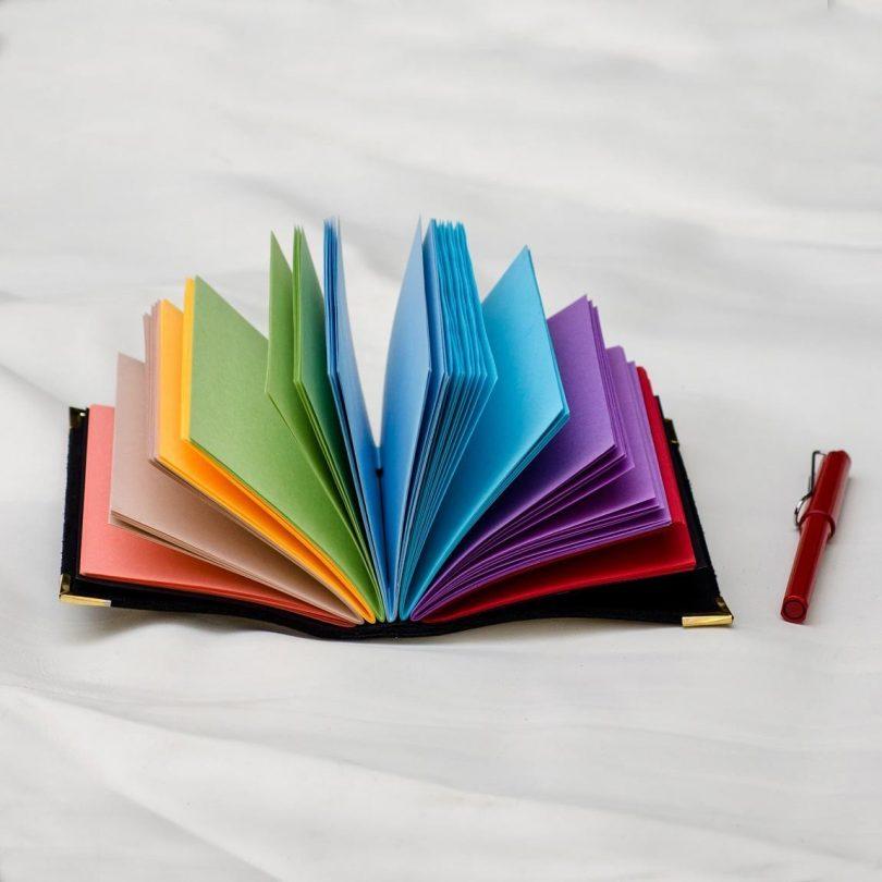 Black Leather Rainbow Journal