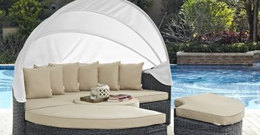 M&W Outdoor Funiture Round Patio Daybed with Retractable Canopy