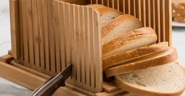 Organic Bamboo Foldable Bread Slicer with Crumb Cather Tray