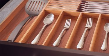 Bamboo Kitchen Expandable Drawer Organizer with Knife Block