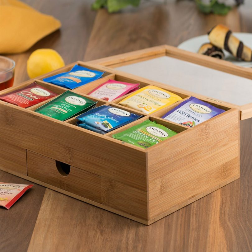 Natural Bamboo Tea Box with Magnetic Lid and Drawer