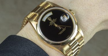 Rolex 18K Yellow Gold Day-Date President Watch with Factory Onyx Dial Copy