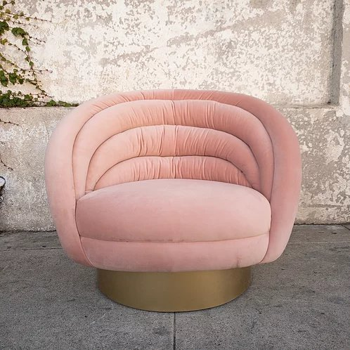 Custom Swivel Club Chair in Blush Pink Velvet