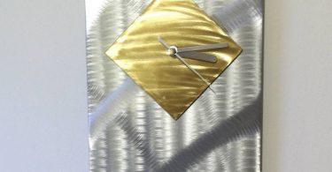 Bamboo (Gold) Modern Art Metal Wall Clock by Christopher Henderson