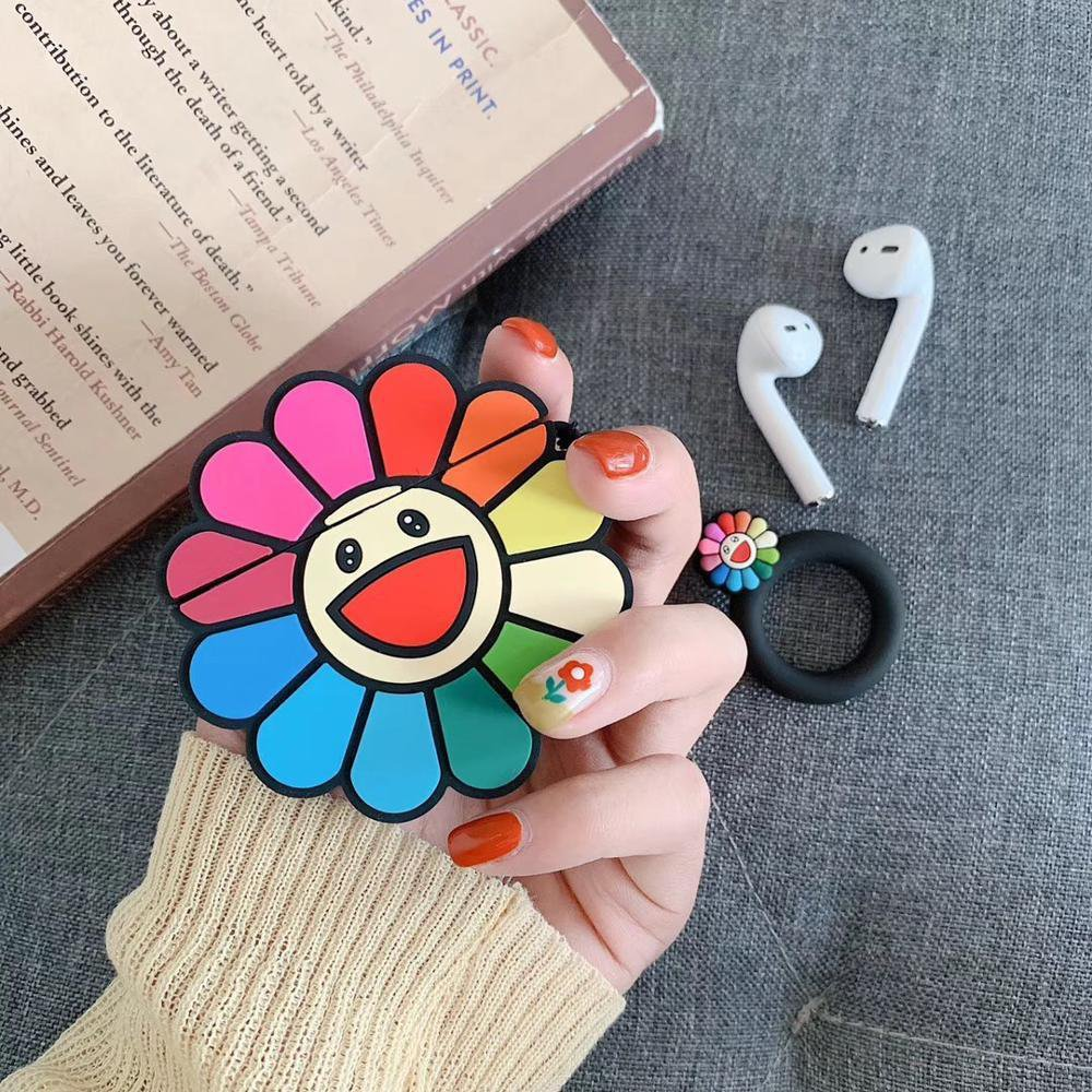 Japanese Sunflower Apple AirPods Protective Case Cover with Key Ring