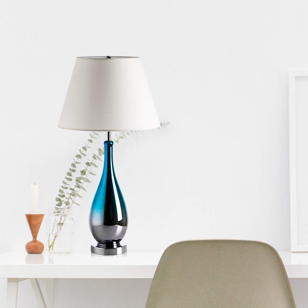 Table Lamps Set of 2 Blue and Chrome Ombre Glass 28″