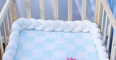 EASTSURE Baby Crib Bumper Knotted Braided Plush Nursery Cradle Decor Newborn Gift Pillow