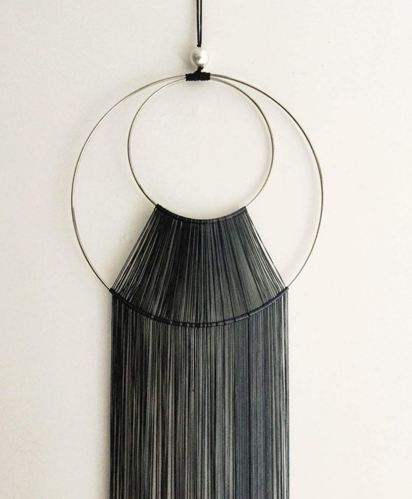 Now Is Now Boho Minimalist Black Fall Hoop Chic Wall Art