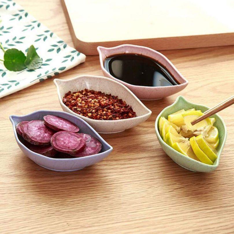 VinBee 12 Pack Leaf Shape Sauce Dish