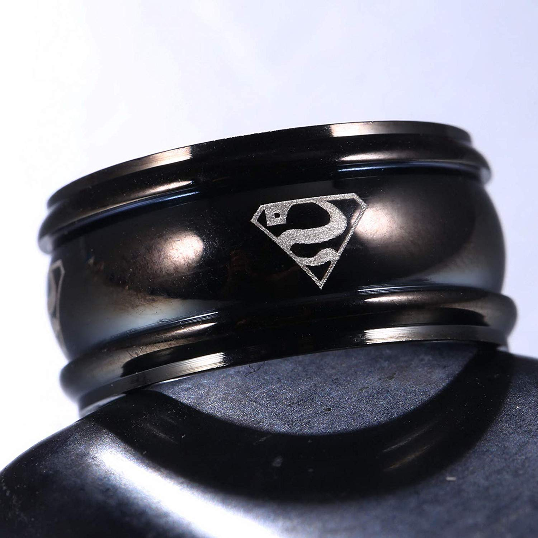 Endicot MenWomen Superman Stainless Steel Titanium Band Ring