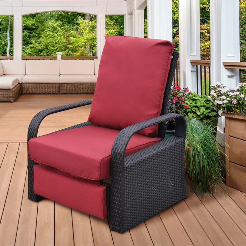 Outdoor Resin Wicker Patio Recliner Chair with Cushions