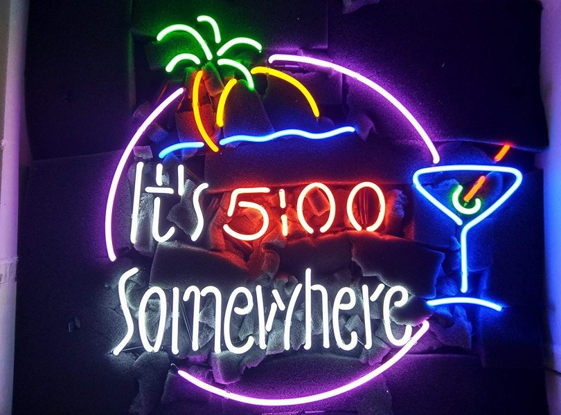It's 5 O'clock 500 Somewhere Martini Cup Neon Sign