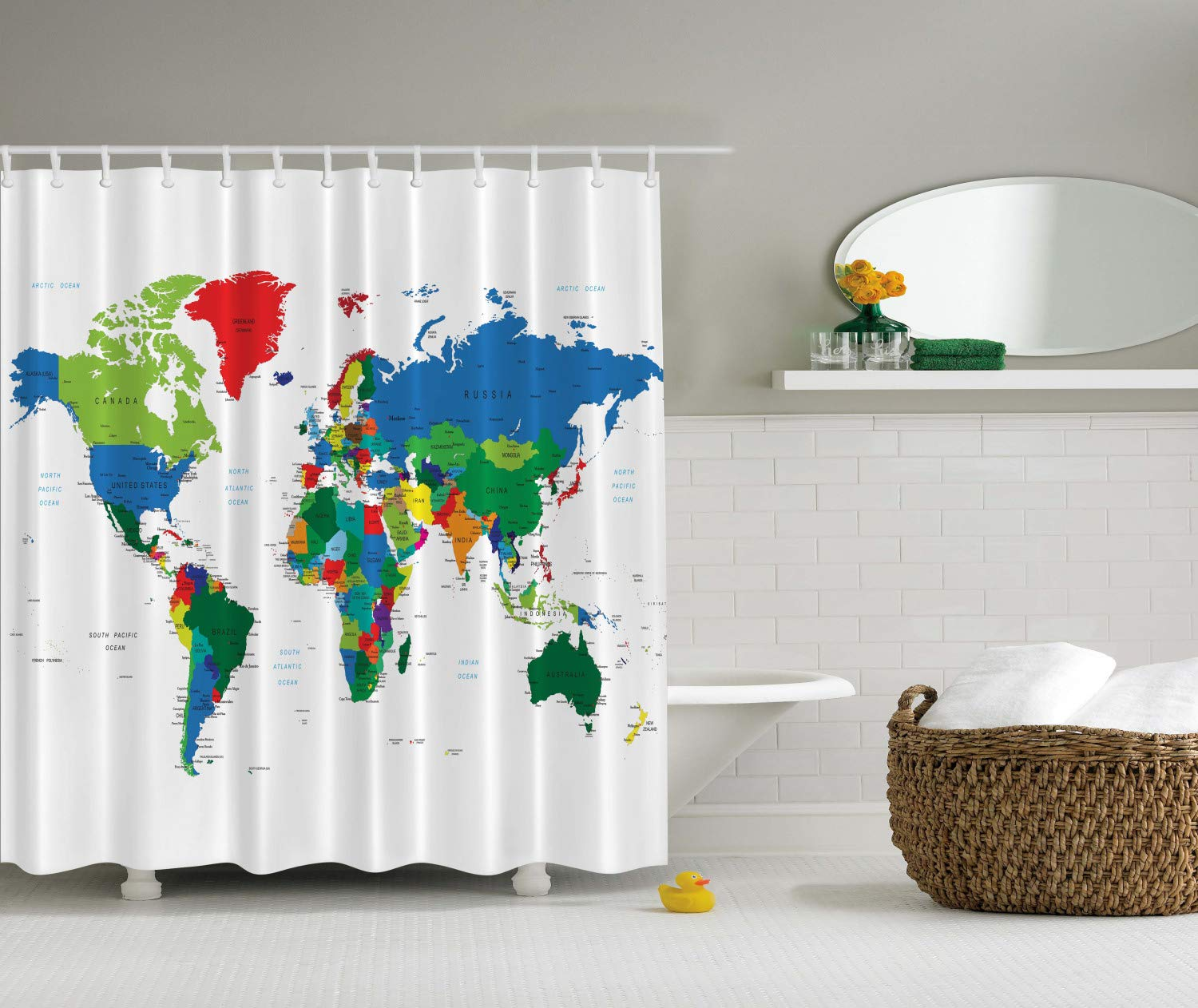 Ambesonne World Map Shower Curtain