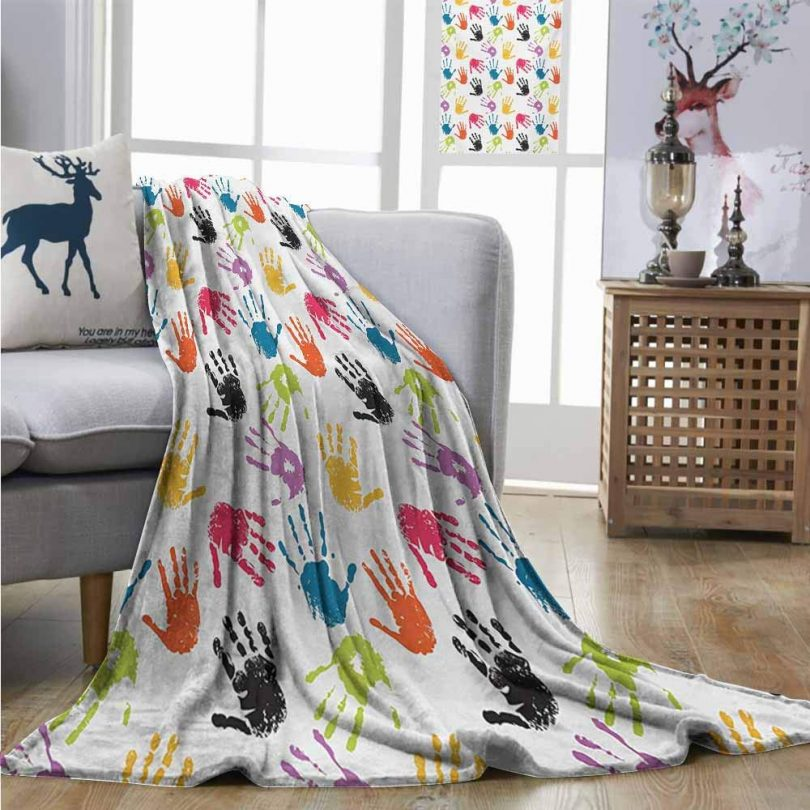 Homrkey Office Blanket Kids Colorful Children Print