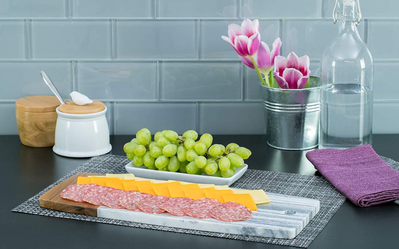 Denmark Rectangular Acacia and Marble Cutting Board