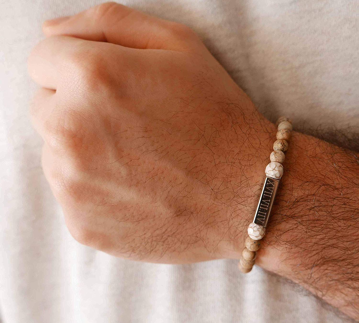 Handmade Engraved Bracelet For Men Made of Gemstone Beads and Set With Stainless Steel Palette By Galis Jewelry