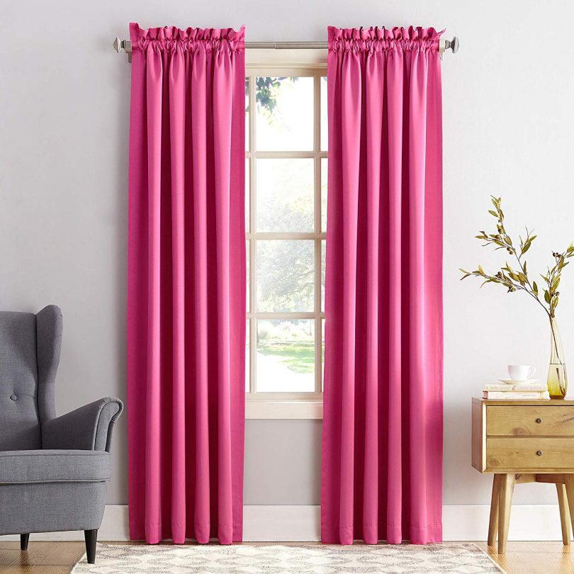 Sun Zero Barrow Energy Efficient Rod Pocket Curtain Panel, 54″ x 84″, Pink