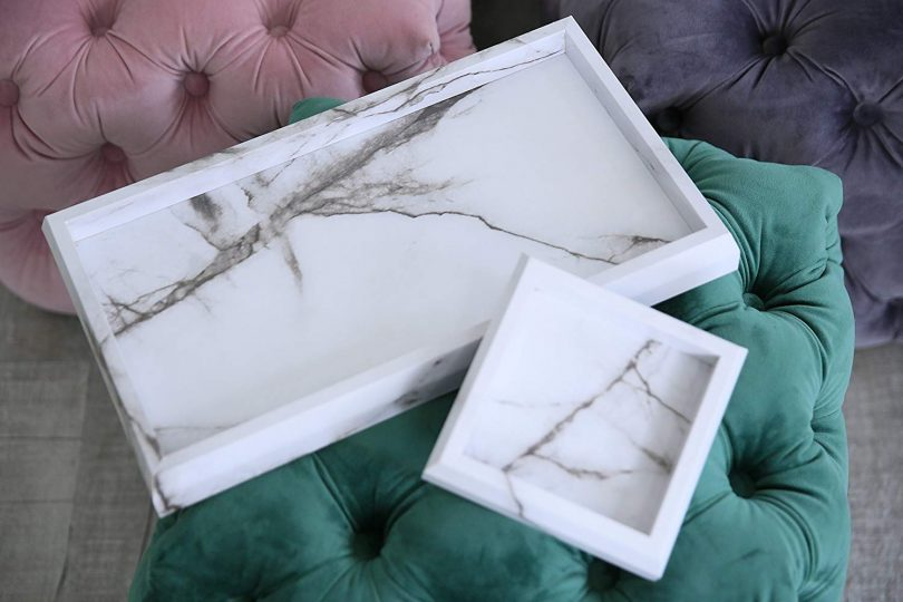 Roomfitters Marble Print Vanity Tray Set