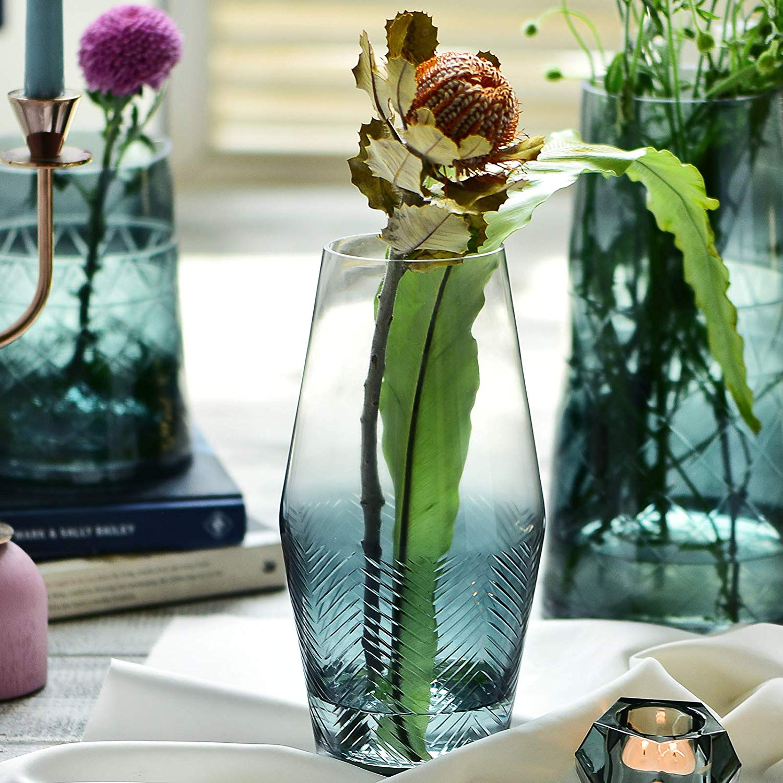 Cyl Home Vases Translucent Turquoise Clear Glass Flower Arrangement Vase