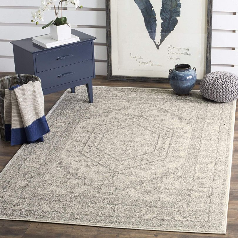 Safavieh Adirondack Collection Ivory and Silver Oriental Vintage Medallion Area Rug