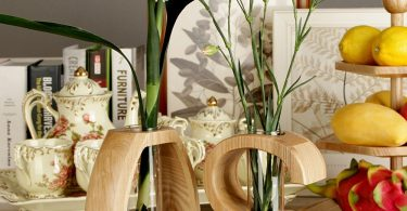 Wooden Test Tube Flower Vase