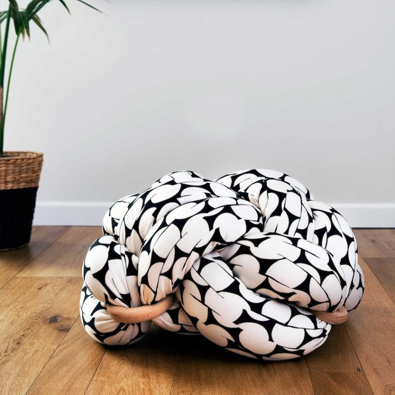 Black & White Pattern Large Floor Knot Cushion