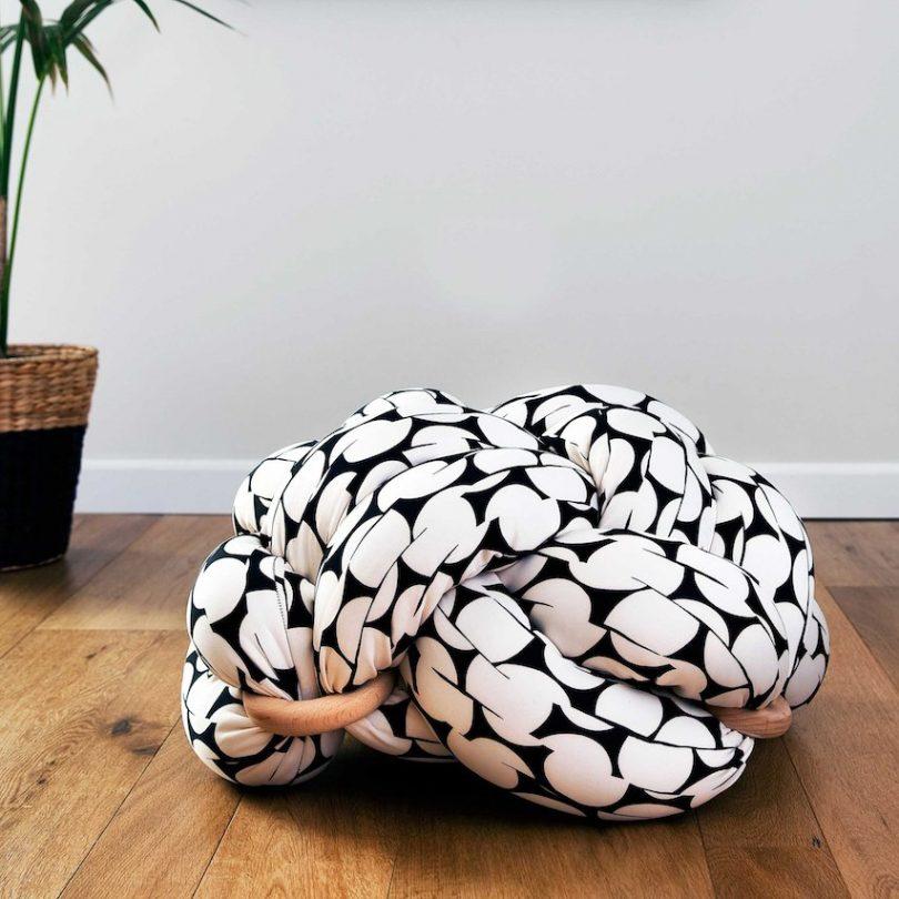 Black & White Pattern Large Floor Knot Cushion