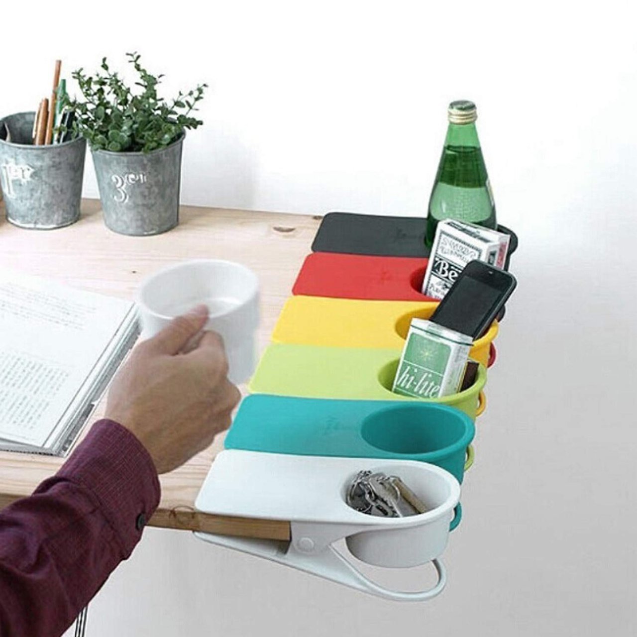 Dirza Clip On Cup Holder for Office Chair Table Desk Side