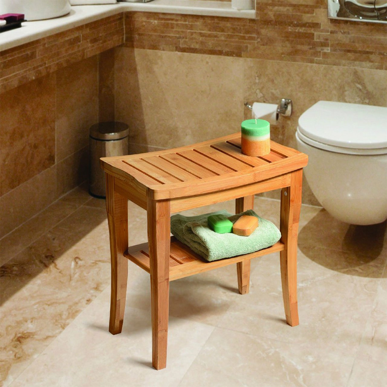 Water-friendly Bamboo Shower Bench with Storage Shelf