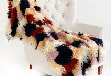 Fanciful Boho Plush Handmade Luxury Faux Fur Throw
