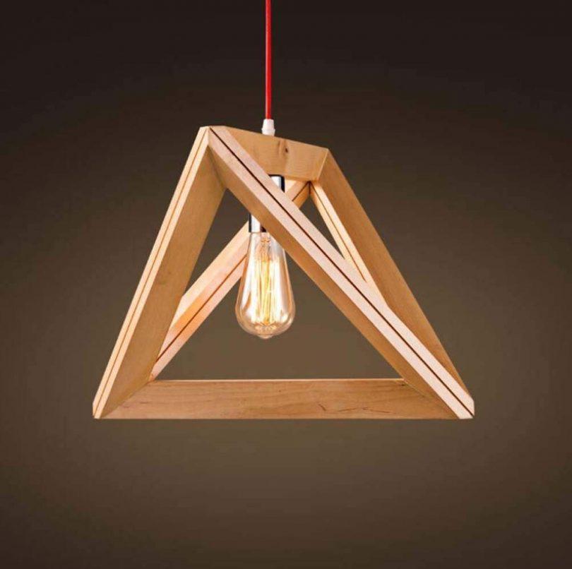 Belief Rebirth Nordic Wooden Pendant Lamp Geometric Triangle
