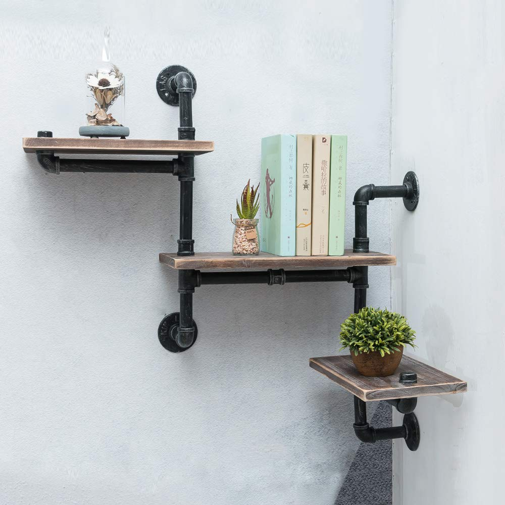 Industrial Pipe Shelving Wall Mounted