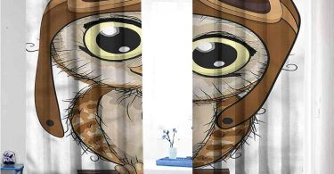 Mdxizc Noise Reduction Curtain Owls Pilot Hat Big Eyes Comic Decor Curtains
